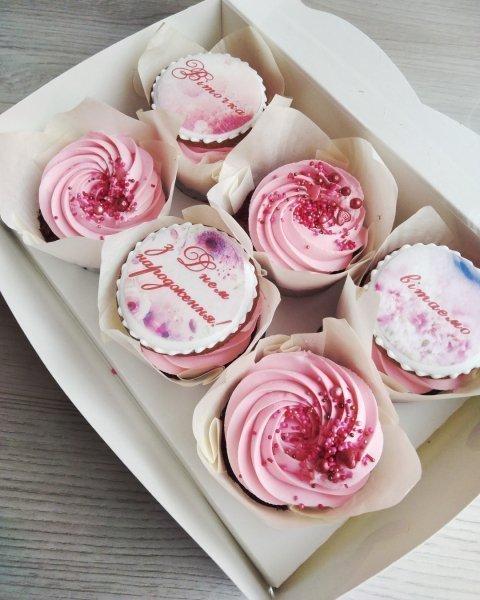"""Шоколадные капкейки на день рождения """"Поздравление"""""""